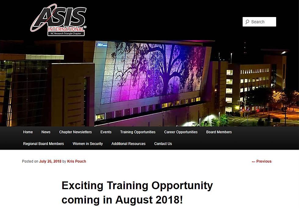 Isa Executive Protection Course Asis North Carolina Independent