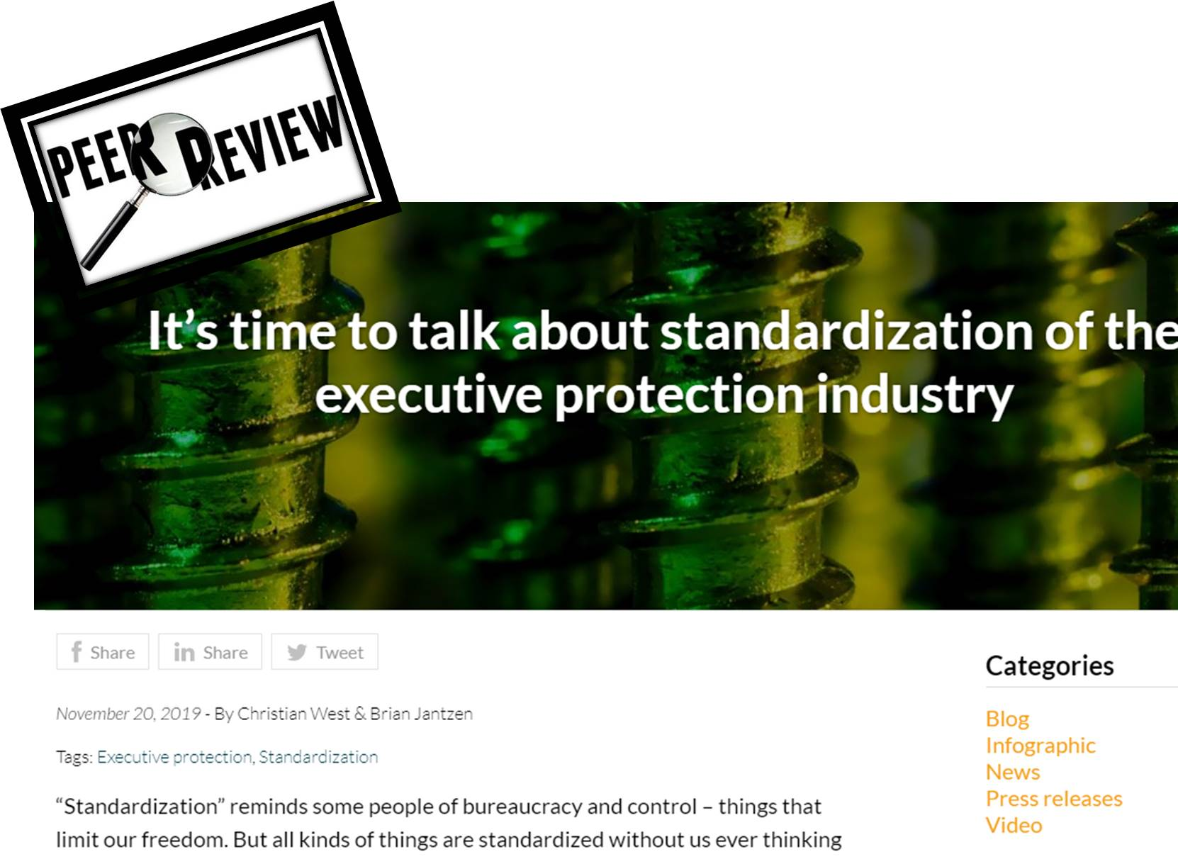 """A Peer Review of """"It's Time to Talk About Standardization of the Executive Protection Industry"""" By Christian West & Brian Jantzen"""